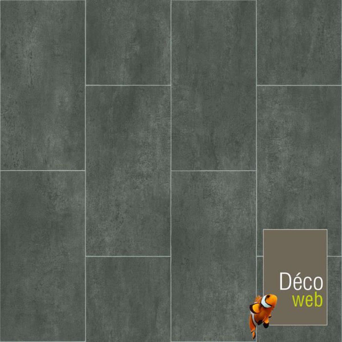 Sol Pvc Salle A Manger 3 x 4m - sol pvc best - motif carrelage gris foncé marbré