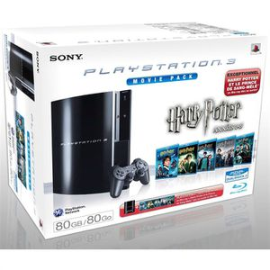CONSOLE PS3 PACK SONY PS3 80 Go + BLU RAY HARRY POTTER 1 à 5 +
