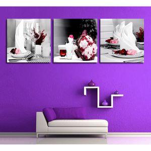 TABLEAU - TOILE 3 Pieces/set Impression Vin Verre Rose Fleur Toile