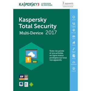 ANTIVIRUS Kaspersky Total Security 2017 3 Postes / 1 An / Ve
