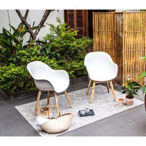 FAUTEUIL JARDIN  Lot de 2 fauteuils - Polypropylène et bois acacia