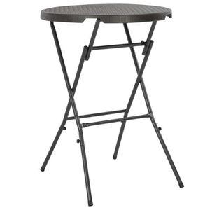 TABOURET DE BAR Table de bar pliante HDPE 80 x 110 cm Marron Aspec