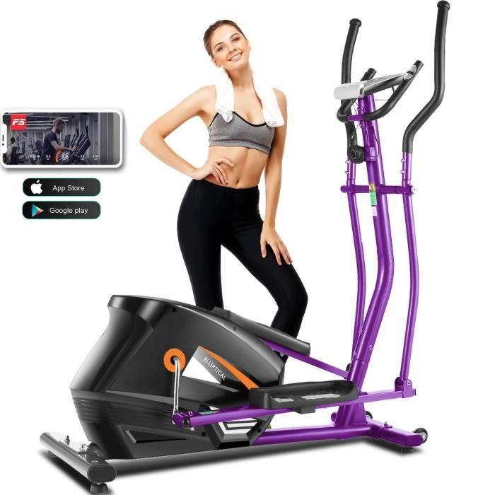 Vélo elliptique magnétique à résistance de 10 niveaux avec moniteur LCD 4kg gris