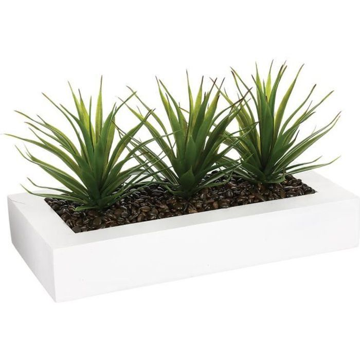 Atmosphera - Lot de 3 centres de table Aloe Vera H17 L, 31 x l, 16 x H, 17 cm Blanc