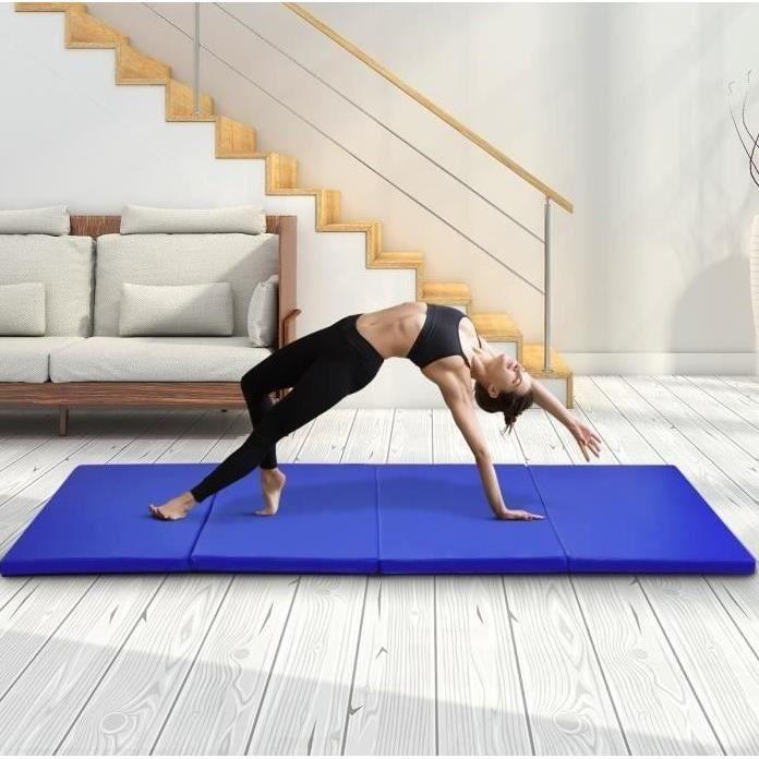FIR Tapis de Sol pour Gymnastique Epais Matelas Gymnastique Pliable Anti Derapant Haute Gamme Taille 240 x 120 x 5 cm Bleu Foncé