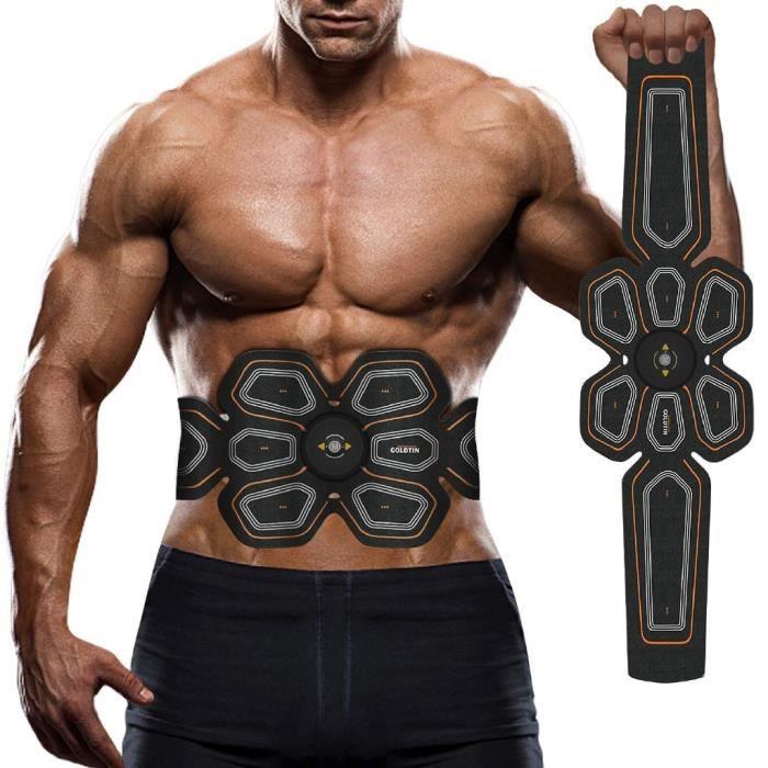 Machine de musculation électronique des muscles abdominaux EMS Stimulator Ceinture de remise - rechargeable --ORANGE