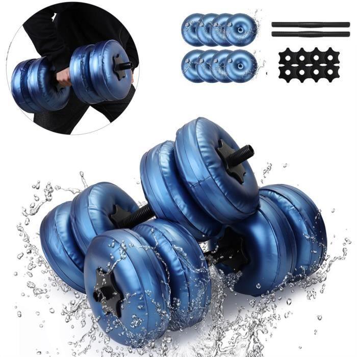 Haltère rempli d'eau Poids musculation Gymnase Exercice Muscle Bras Entraînement Sports de balle 25