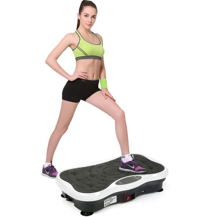 LUXS Pro Fitness Plateforme Vibrante Papillon 5 Programme Vibration Avec haut-parleur USB Blanc/Noir