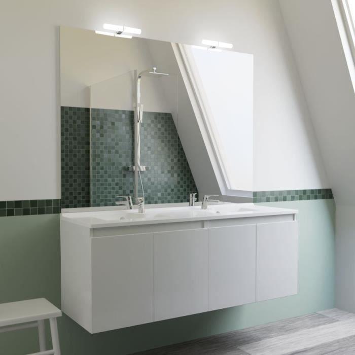 Meuble PROLINE 140 cm avec plan vasque et miroir - blanc brillant