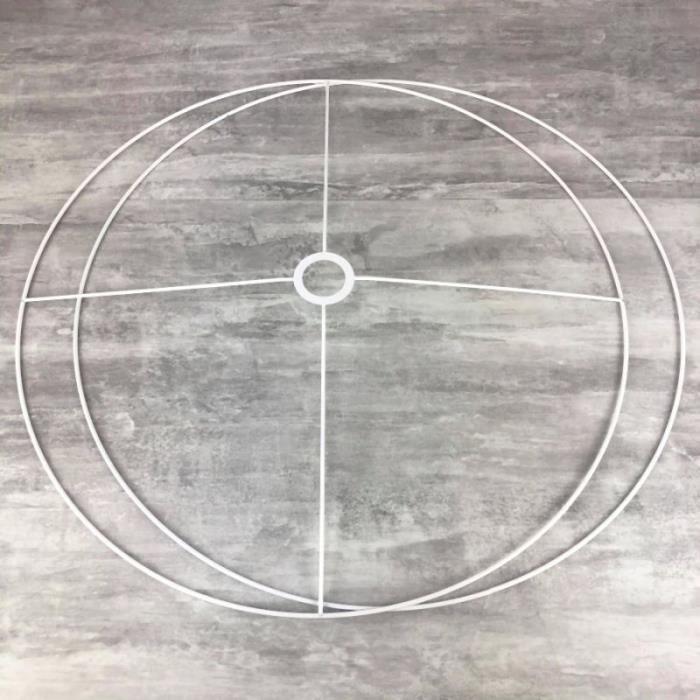 Set d'Ossature Diamètre 90cm pour abat-jour XXL, Anneaux ronds Epoxy blanc, pour douille diam 40mm E27 - Unique