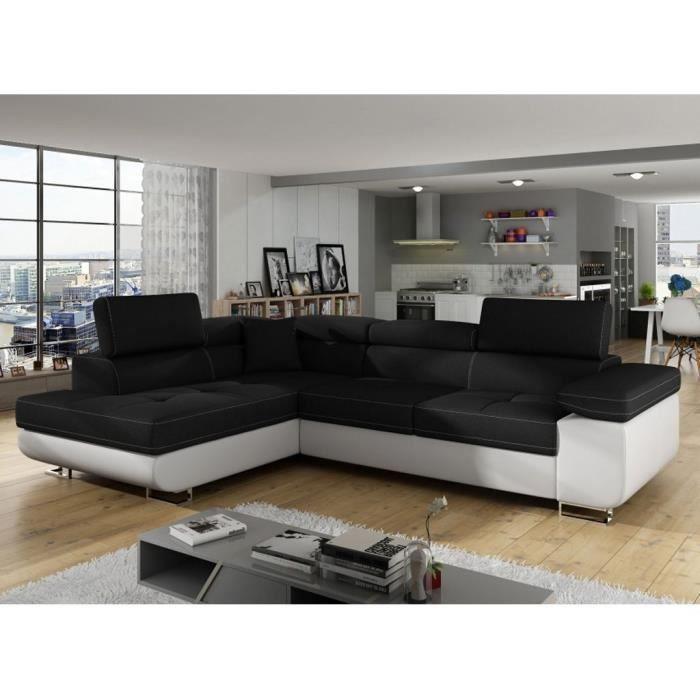 AUBIN - Canapé D'angle Convertible Noir Et Blanc Coffre De Rangement - Angle Gauche
