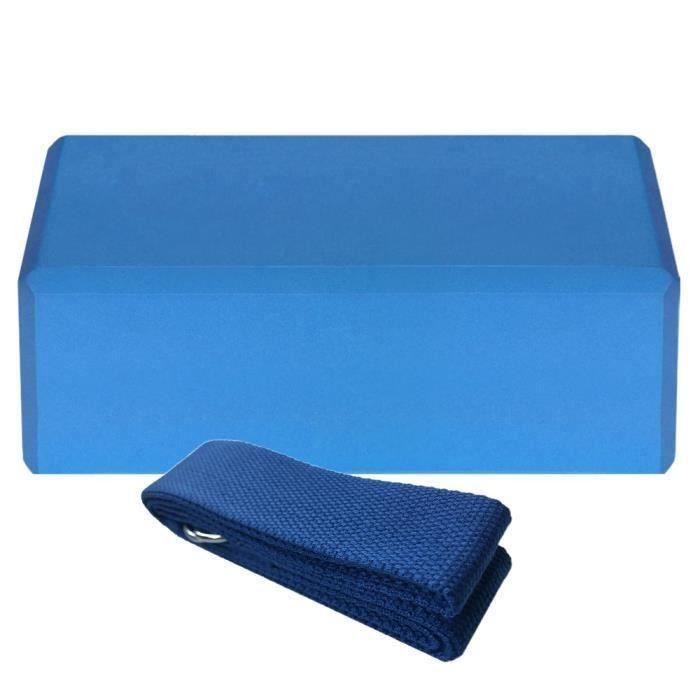 1pcs Yoga Bloquer moussant mousse brique exercice de remise en forme Stretching aide Gym + 1pcs Bande extensible bleu