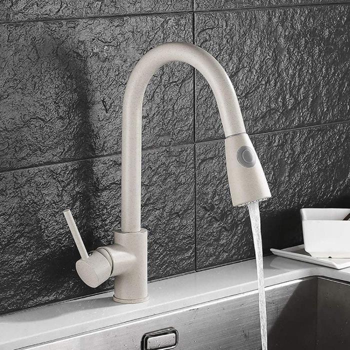 HomeLava Robinet de cuisine à retrait beige Robinet de cuisine rotatif à 360 ° avec douche mitigeur monocommande en acier inoxydable