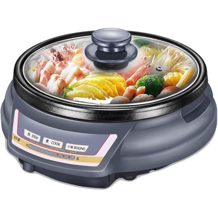 CRYGD Hot Pot électrique Grill intérieur, 220 V Multi-Fonction électrique sans fumée Barbecue Shabu, Hot Pot avec Barbecue médical P