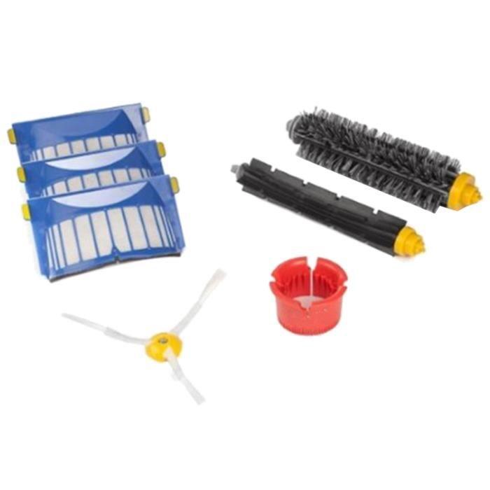 Kit de remplacement de brosses de batteur brosses latérales à 3 bras filtres Aero Vac outil de nettoyage rond pour IRobot Roomba