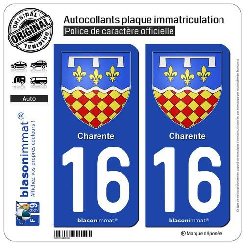 2 Autocollants plaque immatriculation Auto 16 Charente - Armoiries