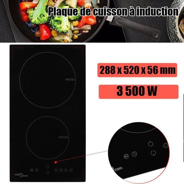 3500W Plaque de cuisson Induction - 2 Feux - Touch-Control - Minuteur - Sécurité enfants