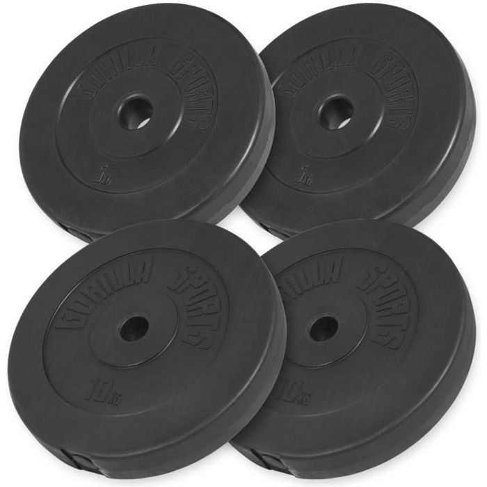 Gorilla Sports - Lot des poids en plastique de 30kg (2x5kg et 2x10kg) de diamètre 31mm