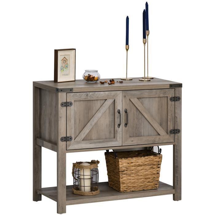 Console Table d'appoint Design Rural Chic dim. 90L x 39l x 80H cm 2 portes étagère Panneaux Particules MDF Bois Gris 90x39x80cm