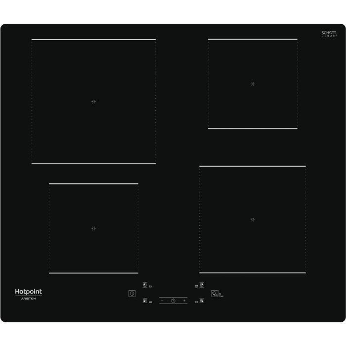 HOTPOINT - HQ5660SNE - Table de cuisson induction - 4 foyers - 7200W - L60 cm - Rêvetement verre noir