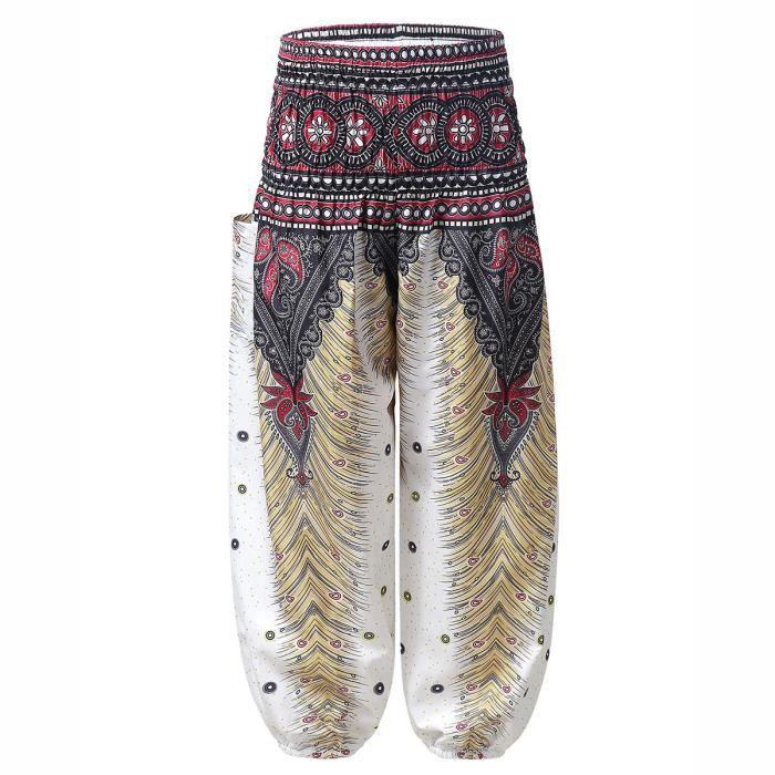 Enfant Fille Pantalon Sarouel Imprimé Bohème Été Pantalon de Yoga Plage Baggy Harem Pants 3-10 Ans Blanc