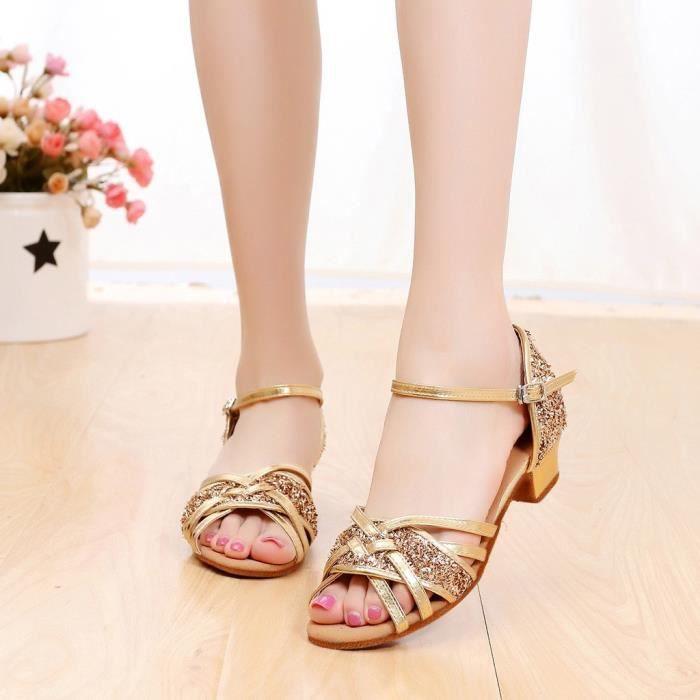 Haute qualité filles enfants enfants salle de bal Tango Salsa chaussures de danse latine sandales Or