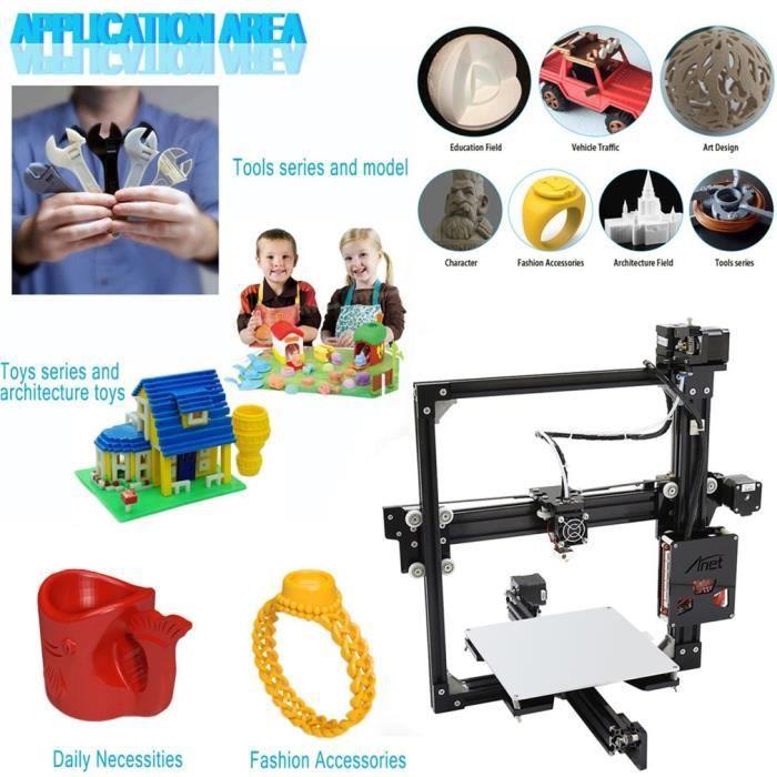 Anet A2 2004 Imprimante 3D industrielle Soutien Filaments Abs et Pla