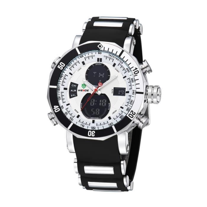 WEIDE WH-5203 Montre-bracelet de sport à affichage numérique avec quartz et à la date / semaine l'alarme acier MONTRE BRACELET