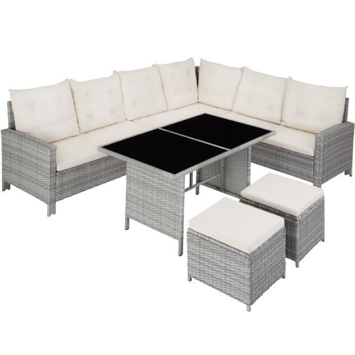 Canapé de jardin BARLETTA modulable - gris clair