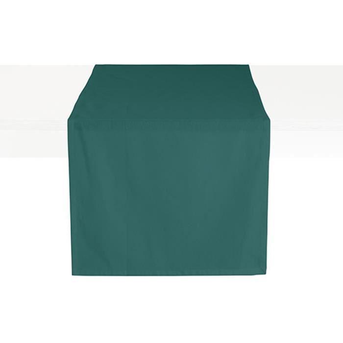 Chemin de table coton CEREMONY 50 x 150 Emeraude