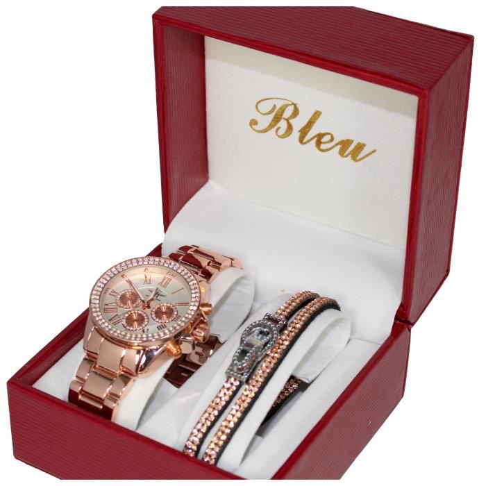 coffret montre femme cuivr couleur dor rose plus bracelet strass achat vente montre. Black Bedroom Furniture Sets. Home Design Ideas