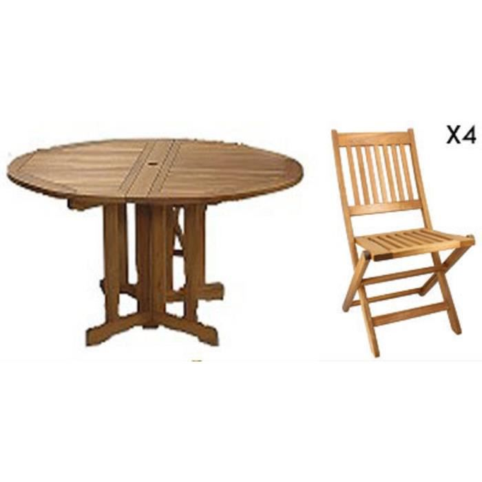 Table ronde pliante en bois label FSC + 4 chaises pliantes en acacia ...