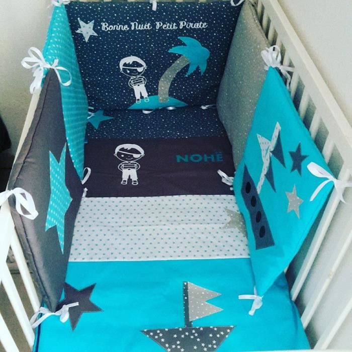 ensemble tour de lit bebe et couverture theme gris turquoise et bleu canard etoilee et pirate. Black Bedroom Furniture Sets. Home Design Ideas