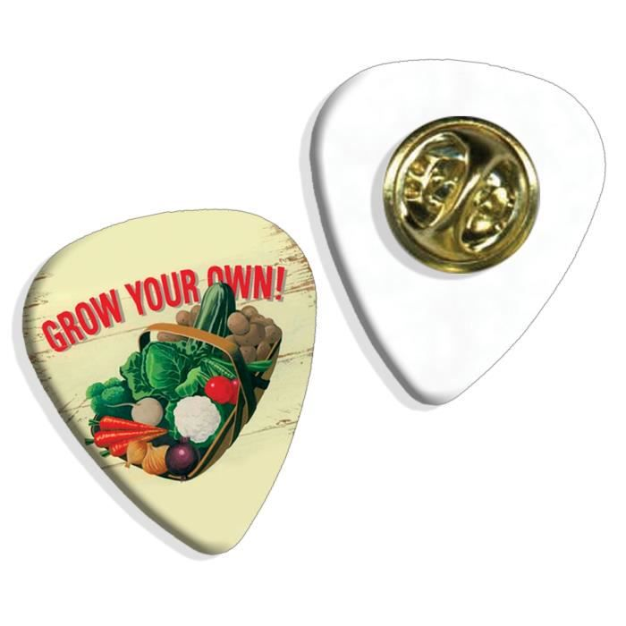 Grow Your Own Vegetables Martin Wiscombe Insigne de Pick Guitar Vintage Retro