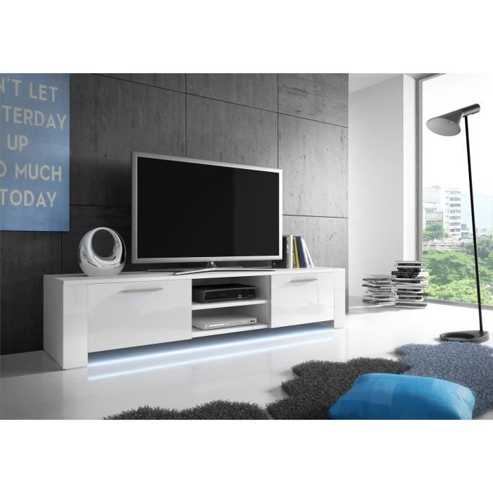 meuble tv bendi blanc mat blanc brillant led achat vente meuble tv meuble tv bendi blanc. Black Bedroom Furniture Sets. Home Design Ideas