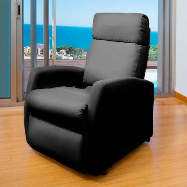 fauteuil relaxation cuir noir achat vente fauteuil relaxation cuir noir pas cher cdiscount. Black Bedroom Furniture Sets. Home Design Ideas