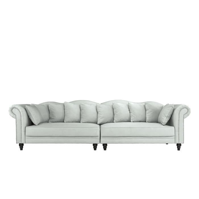 morgane canap chesterfield double extra large velours 304x92x86 cm gris clair achat. Black Bedroom Furniture Sets. Home Design Ideas