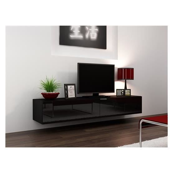 Meuble tv design suspendu vito 180 noir achat vente for Meuble tele suspendu