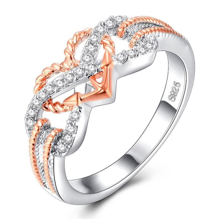 Femmes 925 Argent Rose Saphir Bague Fiançailles Mariage Bijoux Cadeau Taille 6-10