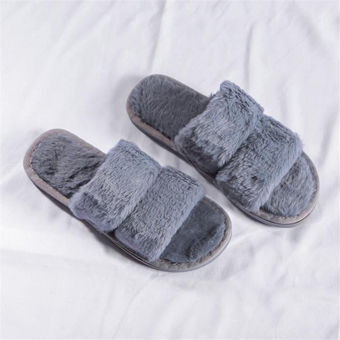 echo4745 Pantoufles dint/érieur pour Hommes et Femmes,Mode Laine de cotonde Couleur Unie Chaude Peluche Chaussures Plates dint/érieur antid/érapantes