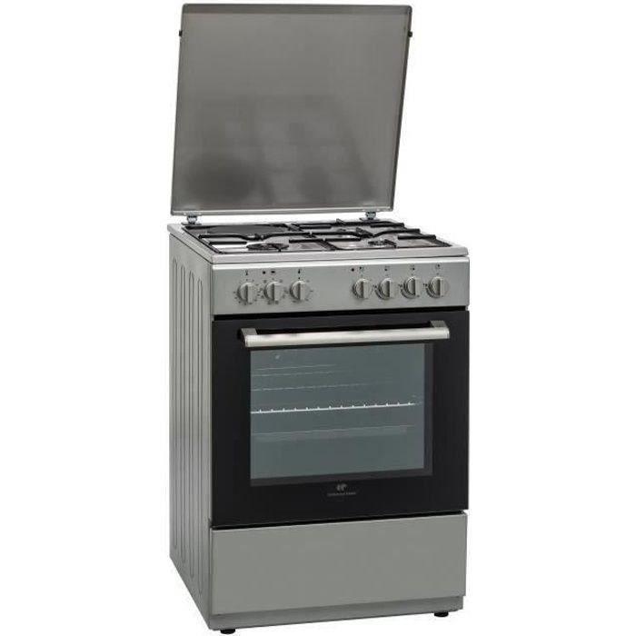 CONTINENTAL EDISON Cuisinière mixte 3 feux gaz + 1 électrique four multifonction catalyse 65L - L60 x H85cm - Silver