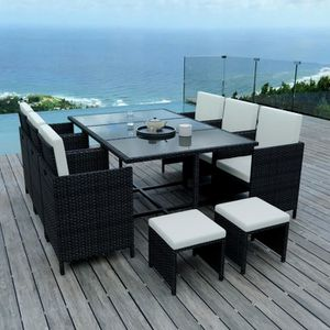 10 Places - Ensemble encastrable salon - table de jardin résine ...