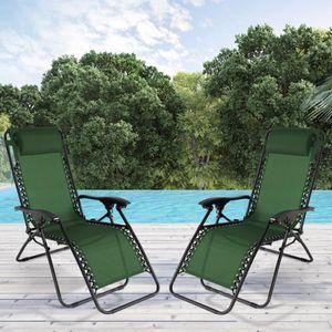 FAUTEUIL JARDIN  Fauteuil relax de jardin vert x2