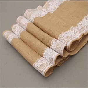 CHEMIN DE TABLE Lot de 3 chemins de table - Toile de jute et dente