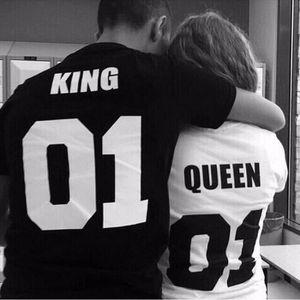 T-SHIRT T-shirt Couples vêtements KING QUEEN 01 lettres SI