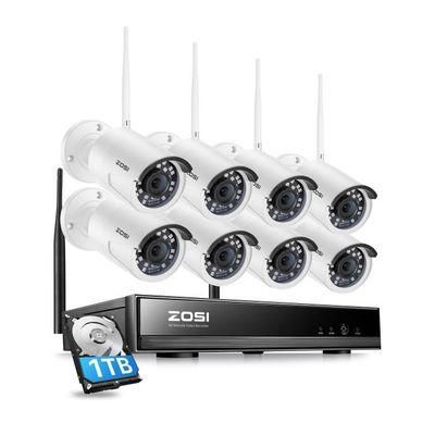 H.265+ Kit Caméra de surveillance sans fil Extérieur 8CH HD 1080p Wireless NVR avec disque dur de 1To 8x Caméra Sans fil Extérieure
