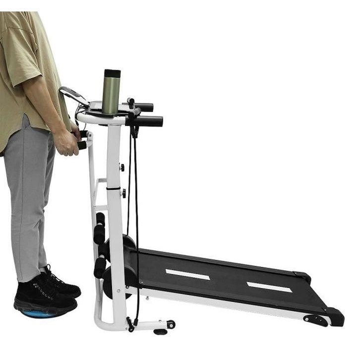 Manual Tapis de Course, Tapis de Marche avec écran LED, Courir, Sit-ups et Twist 54x115x110cm