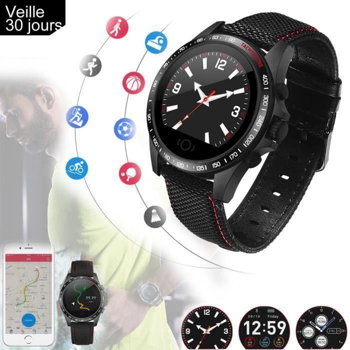 Montre Connectée,Bluetooth Montre Sport Carte Podomètre,Sommeil,Calories pour Samsung-Huawe-Android-iPhone pour Femme Homme français