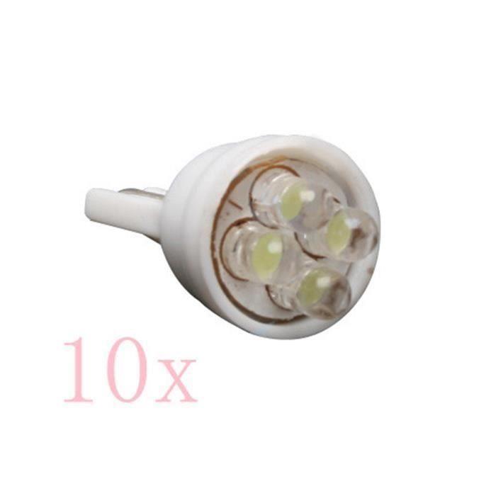 10x W5W T10 194 168 501 4 LED Ampoule Voiture Lampe Wedge Veilleuse Plafonnier Blanc An03407