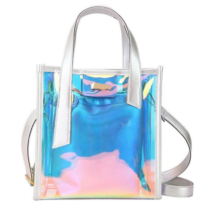 Femmes mode hologramme clair sacs fourre tout Transparent Messenger sac à main + sac intérieur~4*BU25318